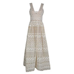 Elie Saab Ivory and Beige Embroidered Guipure Lace Plunge Neck Sleeveless Gown S
