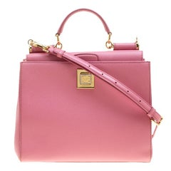 Dolce and Gabbana Pink Leather Medium Miss Sicily Top Handle Bag