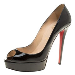 Christian Louboutin Black Patent Leather Lady Peep Toe Platform Pumps Size 40