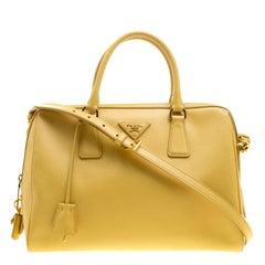 Prada Yellow Saffiano Leather Bauletto Satchel