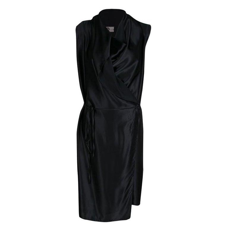 f09e8b335ba6 Lanvin Black Draped Silk Satin Sleeveless Belted Dress M For Sale at ...