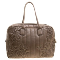Versace Brown Leather Demetra Vanitas Top Handle Bag