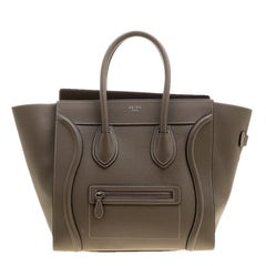 Celine Khaki Leather Mini Luggage Tote