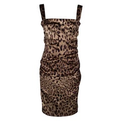 Dolce and Gabbana Leopard Printed Satin Ruched Sleeveless Dress L