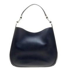 Salvatore Ferragamo Navy Blue Leather Hobo