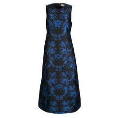 Stella McCartney Black and Blue Embellished Floral Jacquard Angelica Gown M