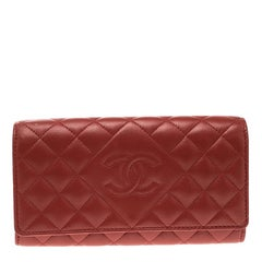 Chanel Red Quilted Leather CC Continental Wallet