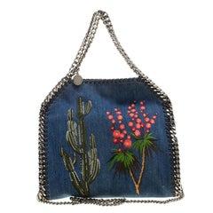 Stella McCartney Blue Denim Embroidered Mini Falabella Tote