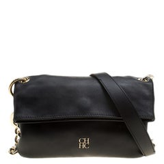Carolina Herrera Black Leather Chain Shoulder Bag