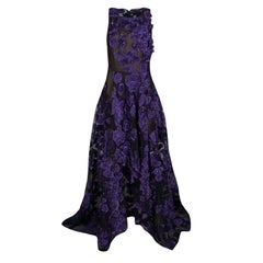 Jason Wu Purple Floral Applique and Jacquard High Low Gown M