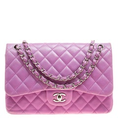Chanel Lilac Quilted Leather Jumbo Classic Double Flap Bag