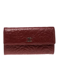 Chanel Dark Red Leather Camellia Continental Wallet
