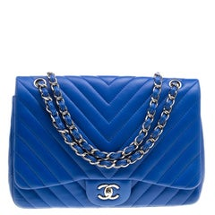 Chanel Blue Chevron Quilted Leather Jumbo Classic Flap Bag