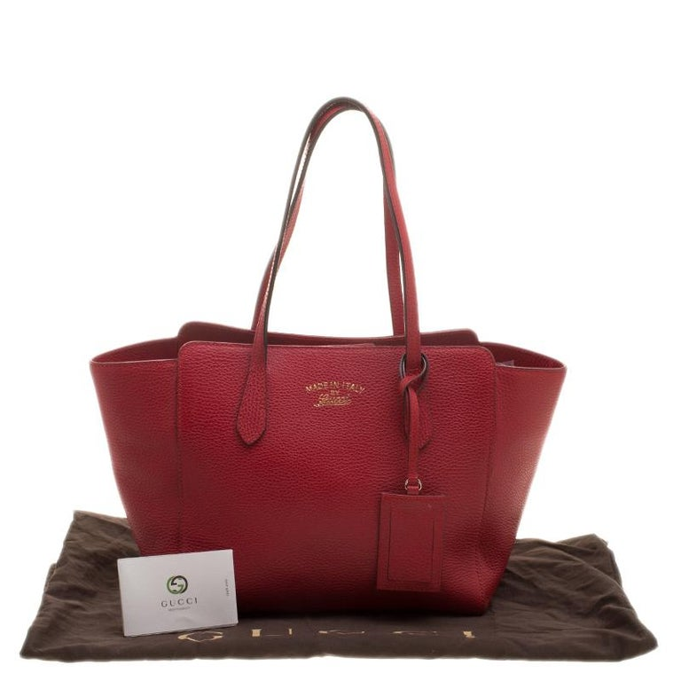 6c56b6aef454a5 Gucci Red Leather Small Swing Tote For Sale 1