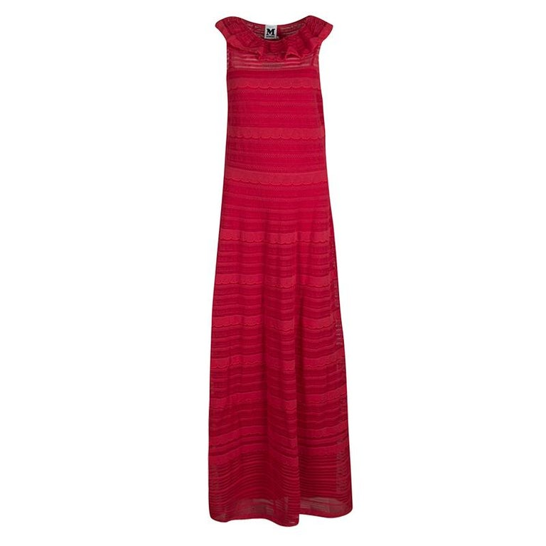 1cc55f1dcf2 M Missoni Red Knit Ruffled Neck Sleeveless Maxi Dress M For Sale at ...