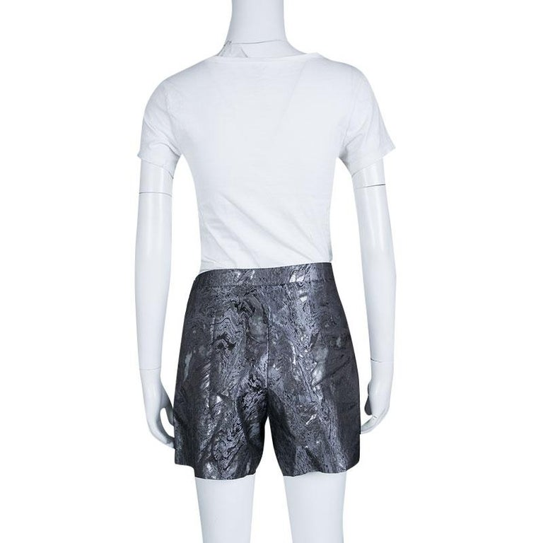 Gray Chanel Metallic Jacquard Pleat Detail Damask Shorts M For Sale