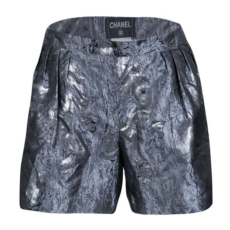 Chanel Metallic Jacquard Pleat Detail Damask Shorts M For Sale
