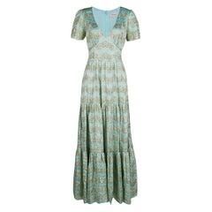 Temperley London Aqua Lurex Detail Jacquard Tie Detail Verve Gown M