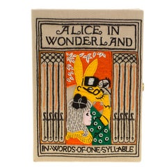 Olympia Le Tan Beige Canvas and Brass Alice in Wonderland Book Clutch