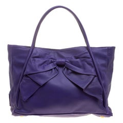 Valentino Purple Leather Bow Tote
