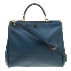 Dolce and Gabbana Cadet Blue Leather Large Miss Sicily Tote