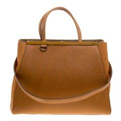 Fendi Mustard Yellow Saffiano Leather 2Jours Tote