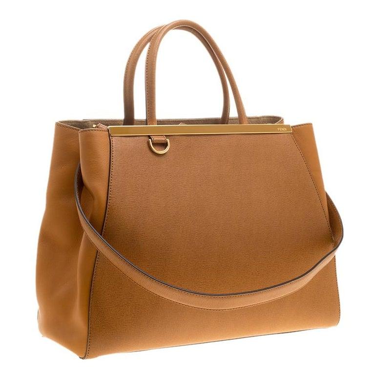 7d8306528733 Fendi Mustard Yellow Saffiano Leather 2Jours Tote In New Condition For Sale  In Dubai