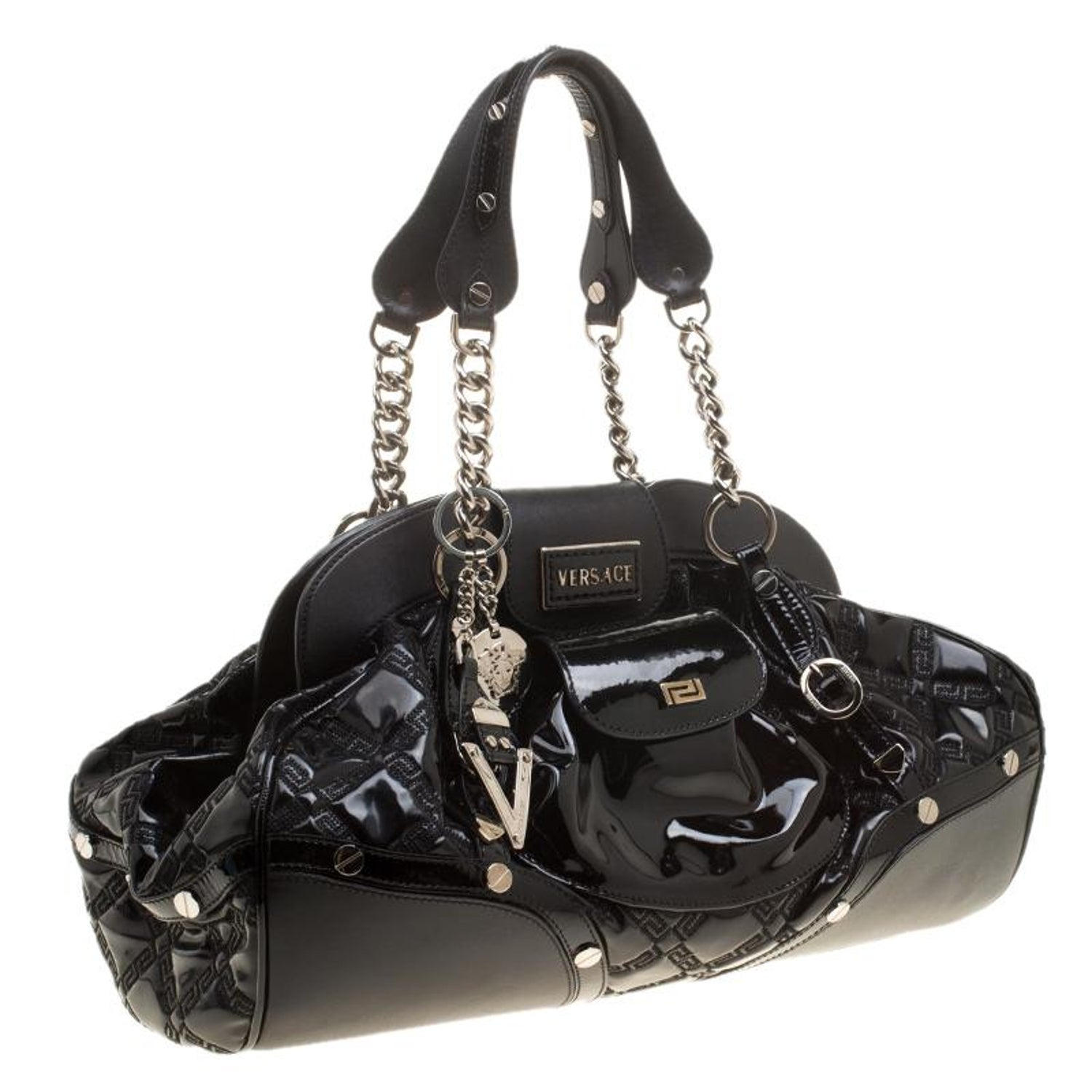 7294c8c1c7 Versace Black Patent Leather Chain Link Satchel at 1stdibs