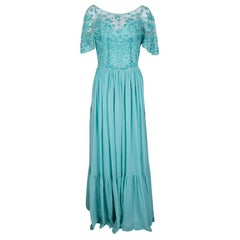 Zuhair Murad Aqua Blue Floral Embellished Embroidered Bodice Detail Gown M