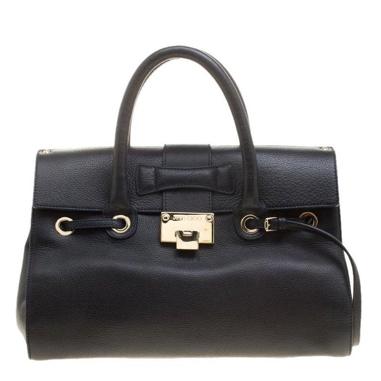 Jimmy Choo Navy Blue Grainy Leather Rosalie Top Handle