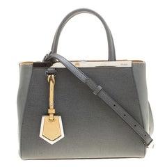 Fendi Grey Two Tone Saffiano Leather Small 2Jours Tote