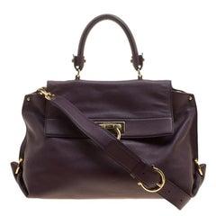 Salvatore Ferragamo Purple Leather Medium Sofia Satchel