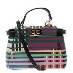 Fendi Multicolor Stripe Print Leather Micro Peekaboo Bag