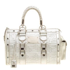 Versace Silver Quilted Patent Leather Snap Out Of It Satchel