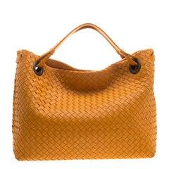 Bottega Veneta Orange Intrecciato Leather Bella Tote