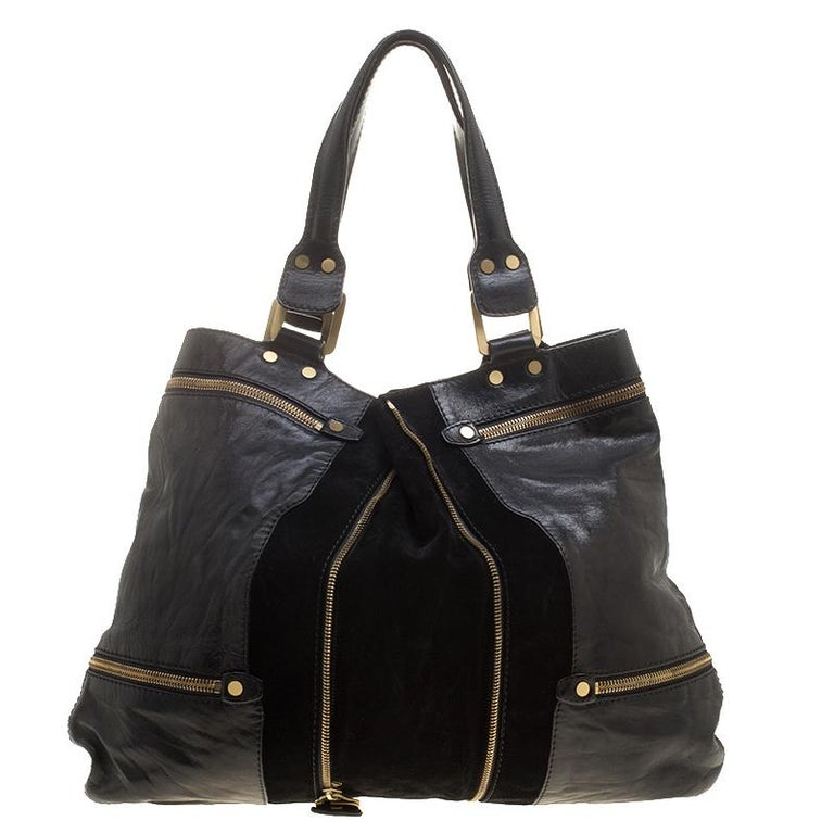 Women's Jimmy Choo Black Leather/Suede Large Mona Tote For Sale