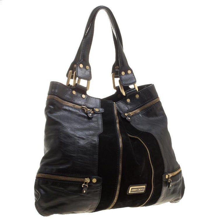 Jimmy Choo Black Leather/Suede Large Mona Tote In Good Condition For Sale In Dubai, AE