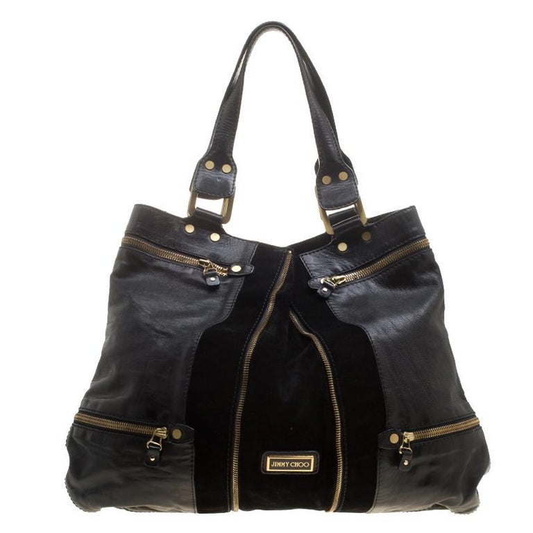 Jimmy Choo Black Leather/Suede Large Mona Tote For Sale