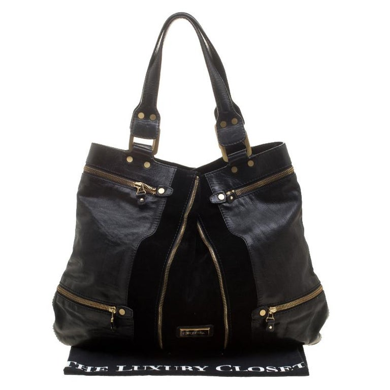Jimmy Choo Black Leather/Suede Large Mona Tote For Sale 5