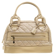 Burberry Beige Quilted Nylon and Leather Manor Satchel