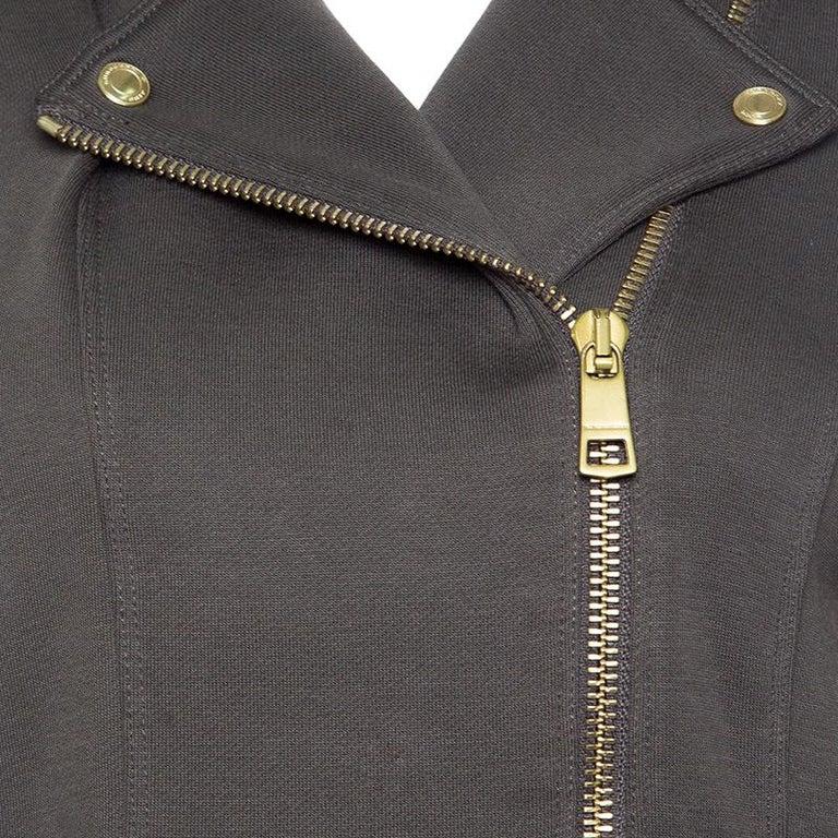 Women's Burberry Brit Olive Green Cotton Cropped Biker Jacket M For Sale