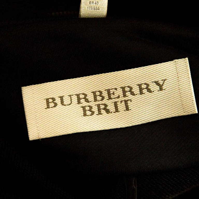 Burberry Brit Olive Green Cotton Cropped Biker Jacket M In Good Condition For Sale In Dubai, AE