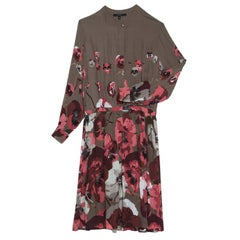 Gucci Brown Floral Printed Long Sleeve Dress S