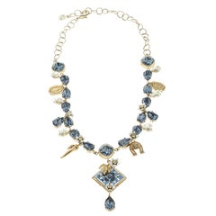 Dolce and Gabbana Blue Crystal Tile Flower Gold Tone Necklace