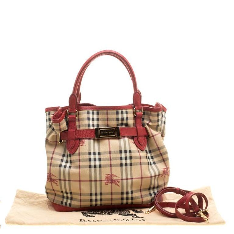 55790e99bd88 Burberry Beige Red Haymarket Check PVC and Leather Medium Golderton ...