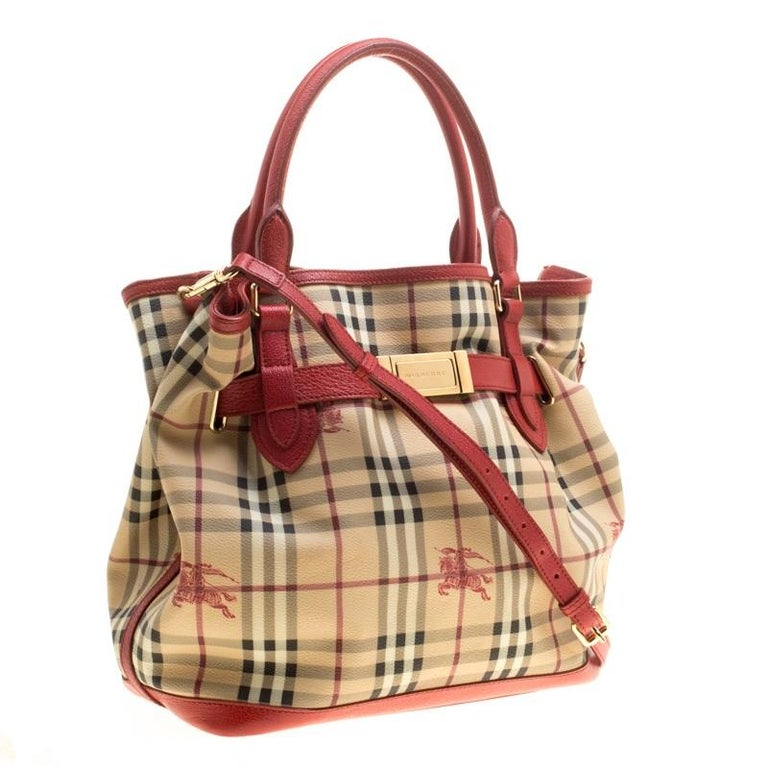 ae4cd327c193 Burberry Beige Red Haymarket Check PVC and Leather Medium Golderton Tote  For Sale 5
