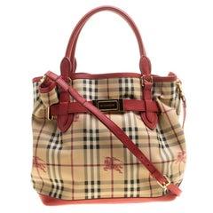 Burberry Beige/Red Haymarket Check PVC and Leather Medium Golderton Tote