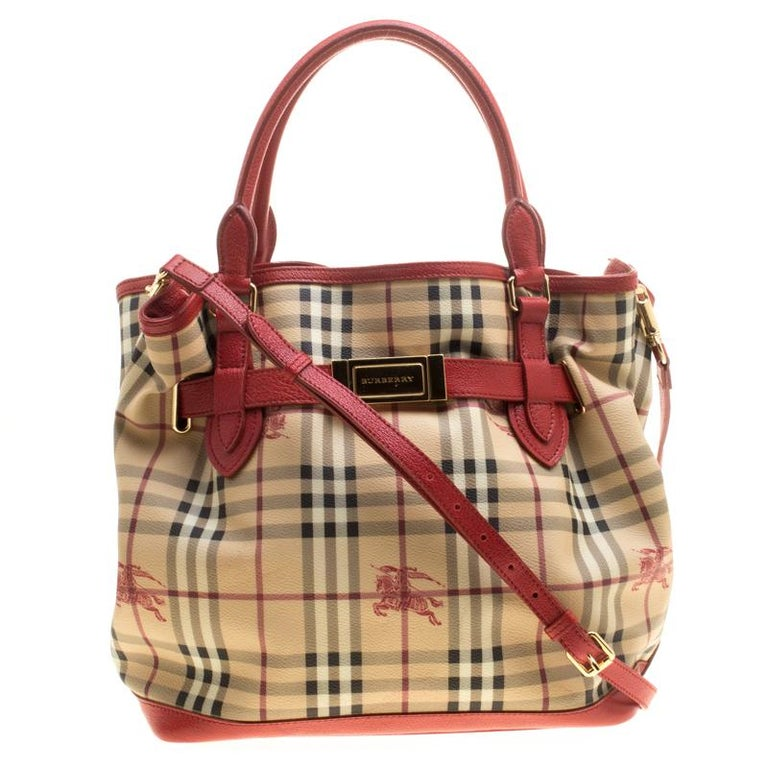 656f21177188 Burberry Beige Red Haymarket Check PVC and Leather Medium Golderton Tote  For Sale