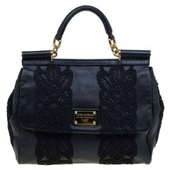 Dolce and Gabbana Black Lace and Leather Medium Miss Sicily Tote