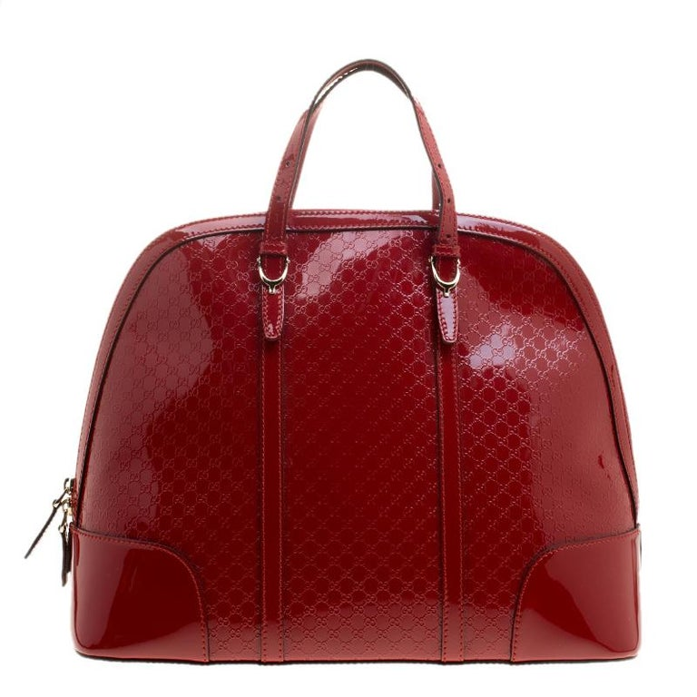 2961b83a41a6 Gucci Red Microguccissima Patent Leather Large Nice Top Handle Bag For Sale